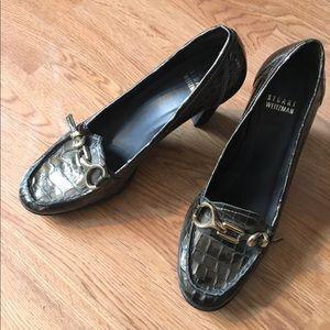Stuart Weitzman Buckle Heels metallic 7.5